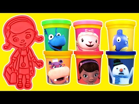 Doc McStuffins Play Doh Molds with Dottie Lambie Stuffy Hallie Squeakers Drawing with Surprise Toys