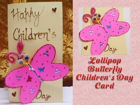 How to make Butterfly Lollipop Card/ Children's day handmade card/ Kids Crafts