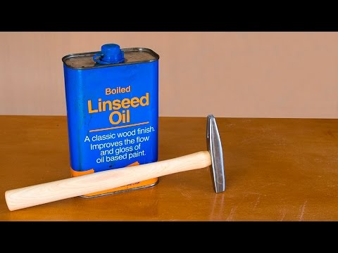 Refinishing a tool handle with boiled linseed oil