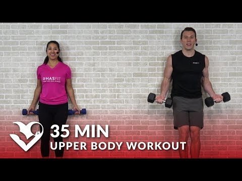 35 Min Upper Body Workout at Home for Women & Men - Chest and Back Workout with Weights Dumbbells