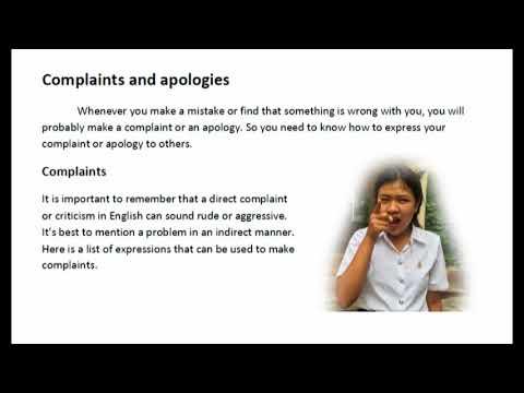 Complaints and Apologies การตำหนิและการขออภัย 1