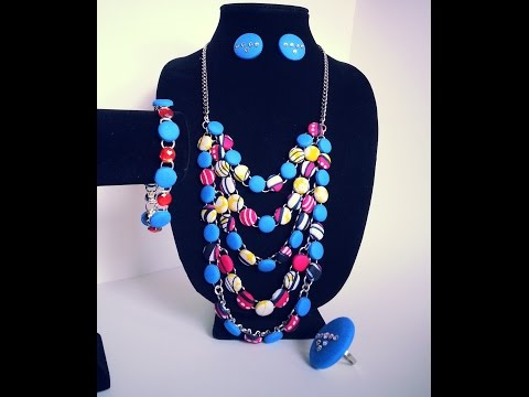 DIY African print fabric button necklace tutorial