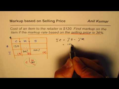 How to find Markup when it is based on Selling Price of Retails