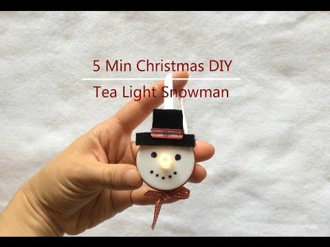 5 min Christmas DIY - tea light snowman
