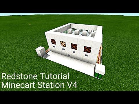 Minecraft Pocket Edition Redstone Tutorial: Auto Minecart Station V4 (MCPE 1.0.5)