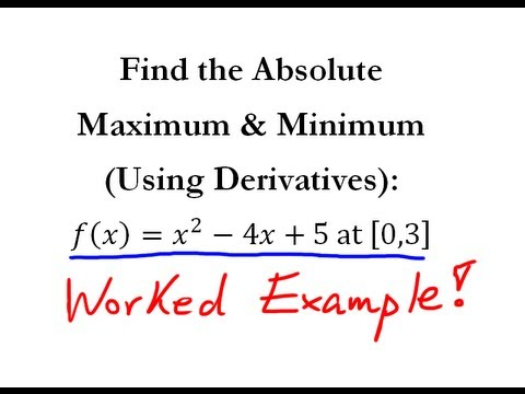 Derivatives: Absolute Maximum & Minimum (Q.1) - Quick Explanation!