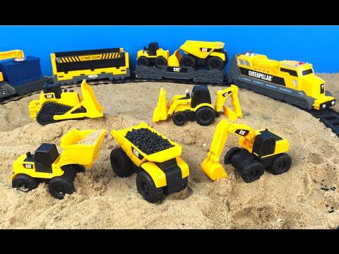 CAT Construction Toy Mighty Machines Build a Train Track - Dump Truck Bulldozer Camion de volteo