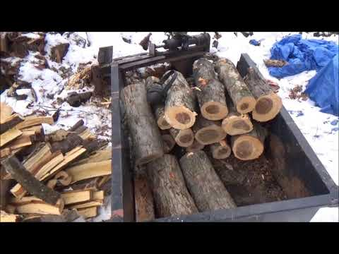 Splitting Apple Wood For The Smoker. Loading the wood bin. More snow coming.