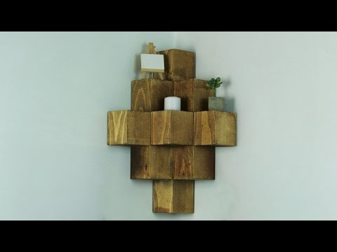 DIY Wood Cube Corner Shelf