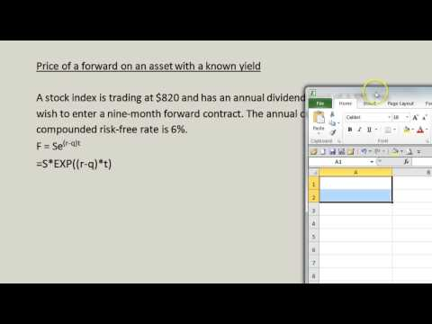 Price of a forward on an asset with a known yield