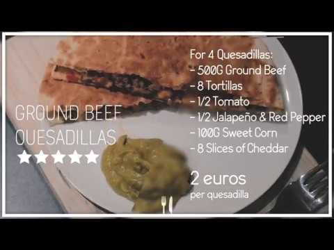 2 €/$ Ground Beef Quesadillas | Deliciously Cheap | Mexican Food