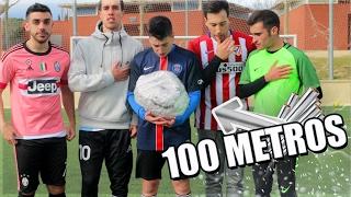 PELOTA DE ALUMINIO DE 100 METROS!! Retos de Fútbol con Youtubers [bytarifa]