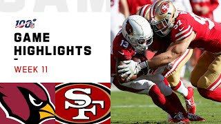 Cardinals vs. 49ers Week 11 Highlights | NFL 2019