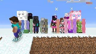 Monster School : GIRLS and BOYS SNOWBOARD CHALLENGE - Minecraft Animation