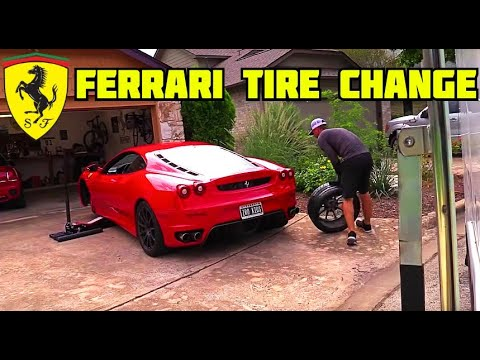 Changing the tires on a Ferrari F430, at home?