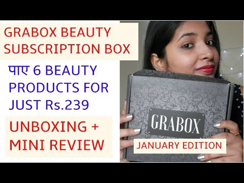 UNBOXING GRAB  BEAUTY BOX @ rs 239   JANUARY EDITION    GET 6 BEAUTY PRODUCTS   
