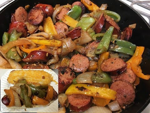 Cast Iron Cooking Smoked Sausage And Peppers Sandwich