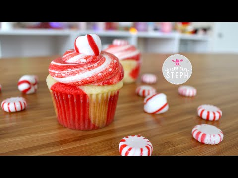 HOW TO MAKE RED AND WHITE PEPPERMINT CUPCAKES