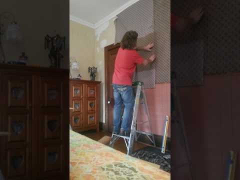 Fabric wall covering Gothic Home..Liquid Starch.