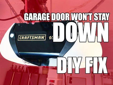 Garage Door Opener Won't Stay Down / Up ? DIY FIX
