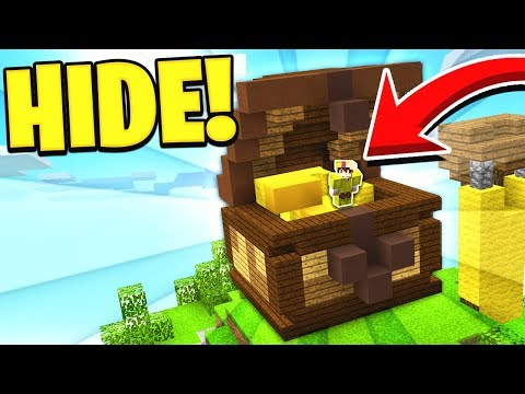 HIDING IN A CHEST! *EASY WINS* (Minecraft Bed Wars)