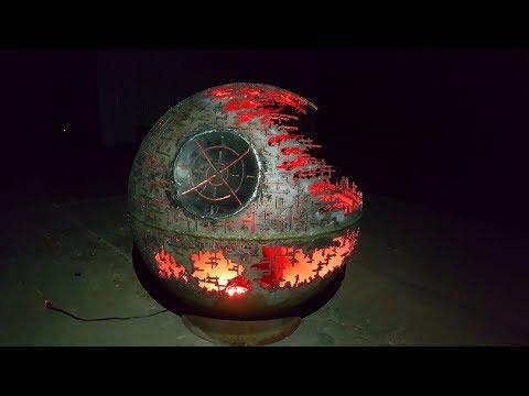 Death Star Fire Pit - Custom Made - Hand Cut - Light Fixture Option