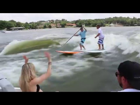 SUP ATX Wake SUP! Stand Up Paddle Wake Surfing with SUP ATX - Double Wake SUP Surfing