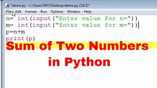 Program to Add two numbers by user input in PYTHON - PakVim