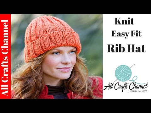 dc709db66a4 Andrea Chunky Yarn Unisex Bobble Beanie Hat Knitting Pattern Child Teen  Adult · How to Knit an Easy Fit Ribbed Hat - Yolanda Soto Lopez