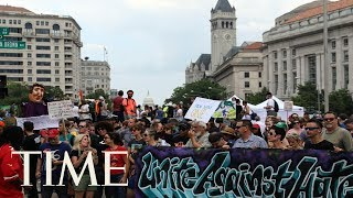 Protestors Against Racial Hatred Counter White Supremacists On Charlottesville Rally Anniv. | TIME