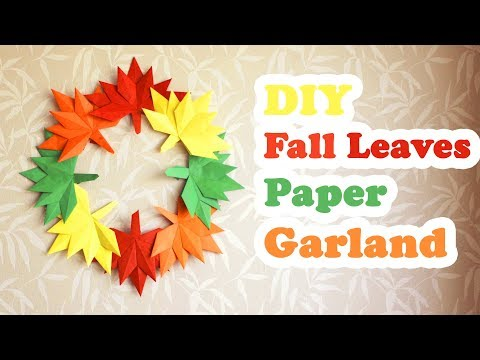 DIY Fall Leaves Paper Garland | Autumn Leaves | DIY Thanksgiving Day Decoration
