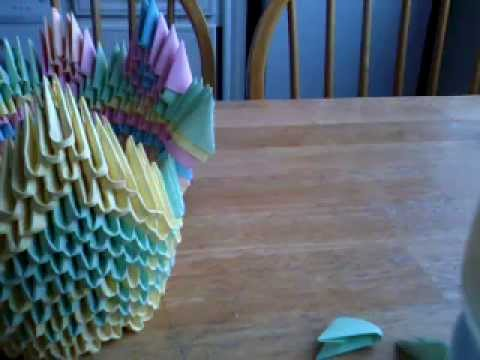 Origami - 3D peacock tutorail part 1