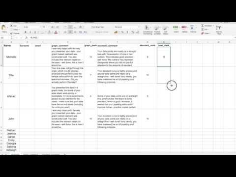 Rubrics in Excel for effective marking and feedback