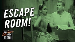 James Corden & Ariana Grande Visit an Escape Room