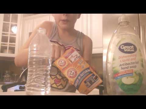 Easy water bottle volcano!