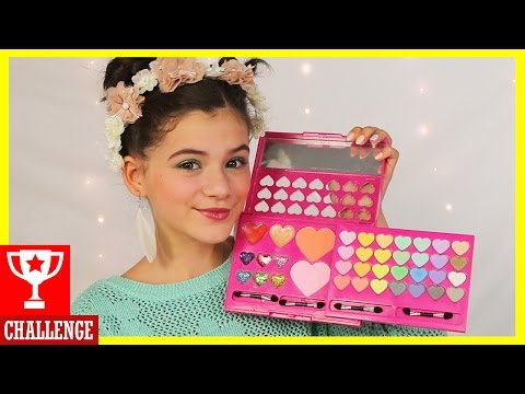 FULL FACE USING ONLY KIDS MAKEUP Challenge! | KITTIESMAMA