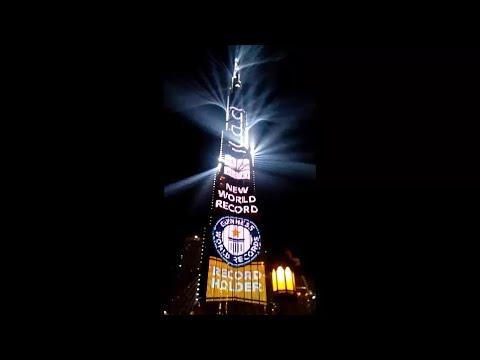 Burj khalifa New Years 2018 record breaking light show