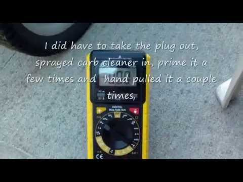 How to charge the Craftsman 650 battery start lawn mower model 917.37641