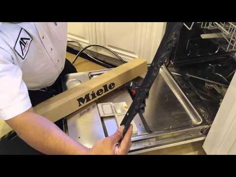 Installing door gasket on a Miele dishwaser in Henderson NV.