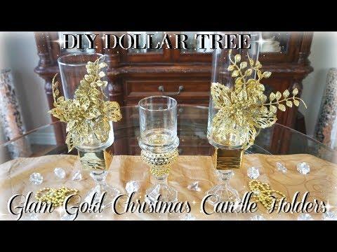 DIY DOLLAR TREE GLAM GOLD CHRISTMAS CANDLE HOLDERS | DIY ROOM DECOR | DIY DOLLAR STORE DECOR