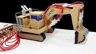 How to Make JCB (Hitachi) Remote Control Hydraulic Excavator(Crane) From Hardboard 'at Home DIY