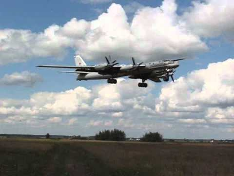 Russian Tupolev Tu-95 Bear Landing Up Close