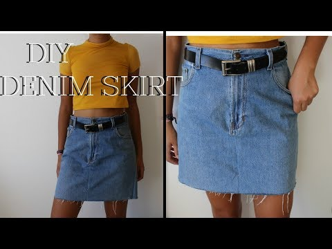 DIY: Denim Skirt from Oversized Jeans