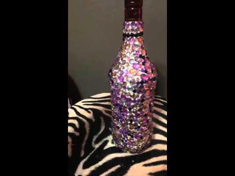 Finished bedazzled liquor bottle