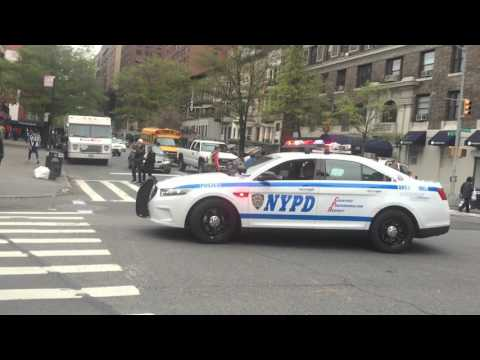 NYPD HIGHWAY 1 CRUISER CONDUCTING A TRUCK TRAFFIC STOP ON BROADWAY ON THE WEST SIDE OF MANHATTAN.