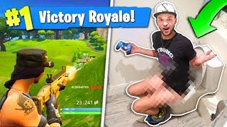 WINNING Fortnite... On the TOILET!?