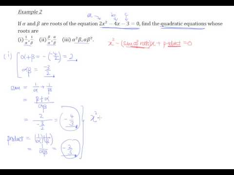 Find quadratic equations using sum and product of roots - Example 2