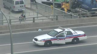 G20 Toronto Summit Leaders Motorcade On Gardiner Expressway Police Checks Suspicious package. In HD