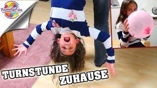 Download TURNSTUNDE Gymnastik ZUHAUSE - LUFTBALLON Akrobatik - Family Fun Video