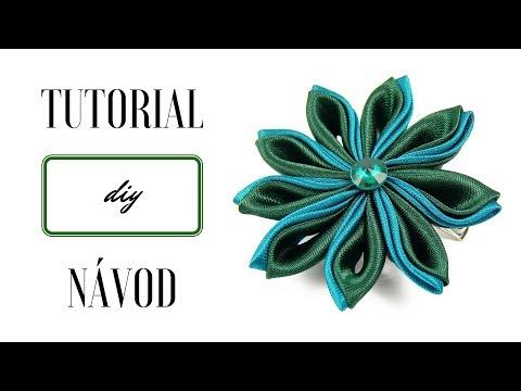 Kanzashi tutorial | Flower brooch tutorial | Fabric flower | Návod kanzashi | Návod brož kanzashi